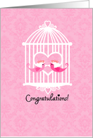 Sweet Birds in Cage - Lesbian Wedding Congratulations card
