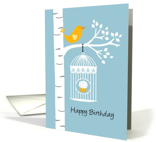 Birch Tree with Bird and Cupcake - Happy Birthday card (676851)