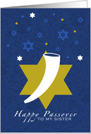 Happy Passover - shofar - to my Sister card