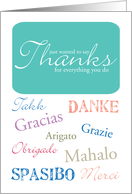 Thanks in Many Languages - Admin Professionals Day card