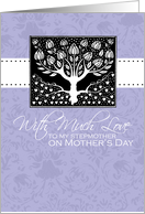 Stepmother - purple love tree - With Much Love on Mother's Day card