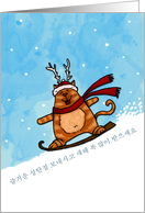Korean christmas cards from greeting card universe korean snowboard cat christmas card m4hsunfo