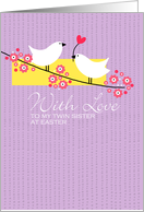 Easter Birds on branch - to my twin sister card