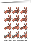 multiple easter bunnies - Hoppy Easter to my daughter-in-law card