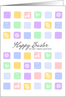 modern easter squares - Happy Easter to my twin sister card