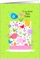 Easter hat - to my dearest twin sister card
