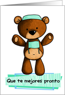 Que te mejores pronto - scrub bear- Get well in Spanish card