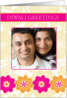 Yellow and Pink Florals - Diwali Custom Photo card