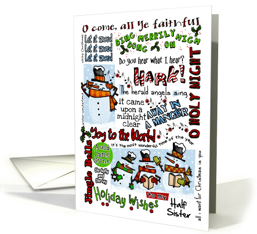 Holiday Wishes for Half Sister - Caroling Snowmen card (876345)