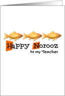 Happy Norooz - three goldfish - teacher card