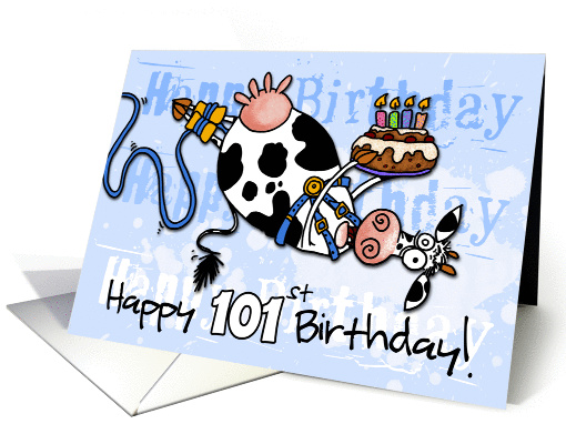 Bungee Cow Birthday - 101 years old card (920147)