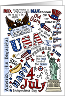 Friend - Happy 4th of July Word Cloud card