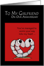 Happy Anniversary to my Girlfriend-Worm Your Way into my Heart card