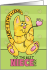 Happy Birthday for Niece-Yellow Tabby Cat with Paw Print Flower card