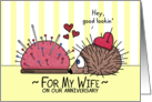 Happy Anniversary for Wife-Porcupine/Hedgehog and Pin Cushion Love card