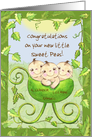 Customizable Congratulations on New Triplets-Baby in Pea Pod Stroller card