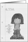 Customizable Missing You-Little Black/White Kawaii Girl on notepaper card