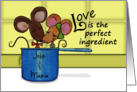Customize for Any Name Happy Anniversary-Two Mice in Measuring Cup card