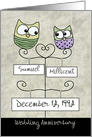 Customizable Happy Anniversary- Two Owls on Names and Date Signs card