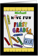 Personalized Back to School for 1st Grade-School Supplies card