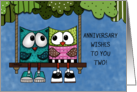 Happy Anniversary for Couple Two Owls on Tree Swing card