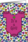 Congratulations on New Baby Girl Pink Onesie with Hearts card