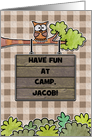 Customizable Name- Thinking of You-Summer Camp- Owl and Sign card