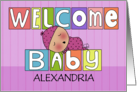 Personalized Name Welcome Baby Girl-Colorful Blocks and Sleeping Baby card