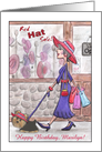 Customizable Name Happy Birthday Marilyn- Lady in red hat with Yorkie card