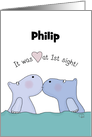 Customizable Name Happy Anniversary for Husband -Kissing Hippos card