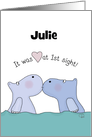 Customizable Name Happy Anniversary for Wife, Julie -Kissing Hippos card