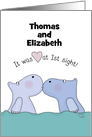 Customizable Names Happy Anniversary for Couple -Kissing Hippos card