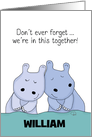 Customizable Name Happy Anniversary for Husband -Snuggling Hippos card