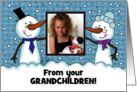 Snowpeople Customizable Merry Christmas from Grandchildren card