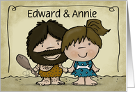 Customizable Names Happy Anniversary Humor - Caveman and Woman Couple card