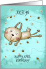 Customizable Name Happy April Birthday Bunny Hop, Bees and Daisies card