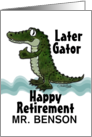 Customizable Name Happy Retirement, Later Gator, Alligator Thumbs Up card
