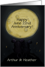 Customizable Happy Anniversary Name, Date, Mice Gaze at Moon card