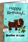 Customizable Happy Birthday for Brother in Law , Sleeping Bear in Tree card
