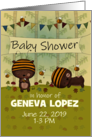 Customizable Baby Shower Invitation, Bear & Bees, Woodland Theme card
