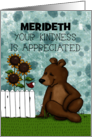 Custom Thank You Brown Bear and Red Bird Your Kindness is Appreciated card