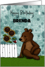 Customizable Happy Birthday for Brenda Brown Bear and Red Bird card