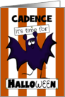 Customizable Name It's Time For Halloween for Cadence Purple Bat card
