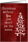 Customizable Missing You at Christmas Won't Be the Same Without You card