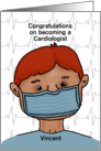 Customizable Congratulations Becoming a Cardiologist Red Haired Male card