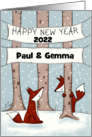 Customizable Year Name Happy New Year 2021 Fox Hide and Seek card