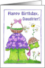 Happy Birthday for Daughter-Turtle with Basket of Flowers card