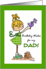 Little Girl with Bird-Birthday to Dad from Daughter card