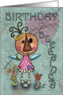 Primitive Angel and Animals- Birthday Blessings for Daughter card
