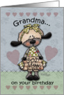 Happy Birthday for Grandma-Primitive Lamb-God Bless Ewe card